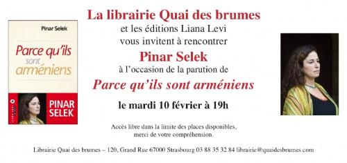 Pinar Selek présente Parce qu'ils sont arméniens (Ed.Liana Levi)